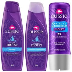 Kit Aussie Moist: Shampoo  Condicionador 180ml  Tratamento 3 Minutos 236ml Hello Kitty Makeup, Things I Need To Buy, African Fashion, Moisturizer, Personal Care, Bottle, How To Make, Hair, Beauty