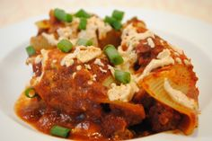 Mexican Stuffed Shells – Red Chile Style (vegan)