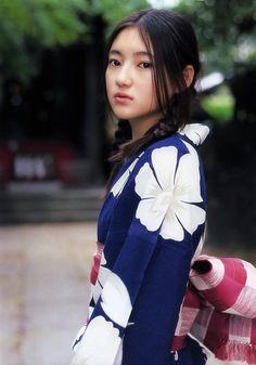 藍色に白のflowerにpinkの帯がLovely☆
