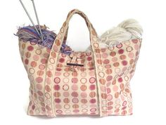Knitting Project Bag Upholstery Fabric Pink by ButtermilkCottage