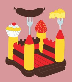 Click to enlarge illustration: Inflatable Food - Wine Festival - Editorial - Graphic Icon