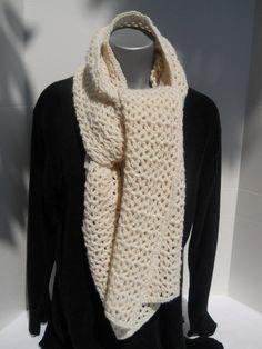 Crocheted Wrap Scarf in Sparkly Cream by crochetedbycharlene, $32.00