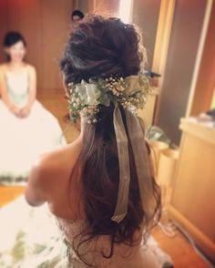 お色直し* かすみ草とリボンでアレンジ☺︎ #michihm #結婚式ヘア #プレ花嫁 #リボン #かすみ草 #ゆるっとアレンジ