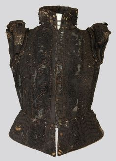 Woman's doublet in dark brown, with a standing collar, ca. 1580. From the Germanisches Nationalmuseum, Inv. Nr.  T832