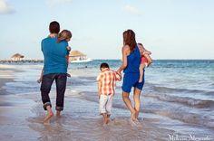 Family Portrait, walking on the beach at Azul Beach, Puerto Morelos, Riviera Maya, Mexico.  © Melissa Mercado