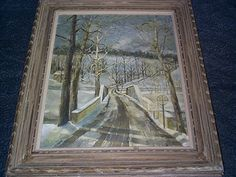 Framed Winter Railroad Bridge Landscape Oil Painting On Canvas by Manning c1930  #Realism