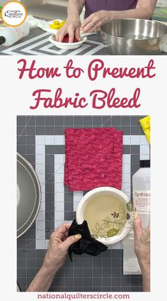 The debate of pre-washing or not pre-washing your fabric comes down to personal preference. However, when it comes to a fabric you are worried might bleed, you should probably pre-wash it. Toby Lischko explains how to know if a certain fabric color is going to bleed and how to prevent fabric bleeding on an already constructed quilt. Sewing Basics, Sewing Tips, Sewing Hacks, Sewing Ideas, Sewing Crafts, Quilting Fabric, Quilting Tips, Quilt Tutorials, Sewing Tutorials