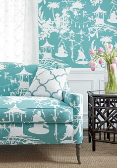 Thibaut chinoiserie inspired wallpaper and sofa upholstery in South Sea fabric Detail view Chinoiserie Fabric, Chinoiserie Wallpaper, Of Wallpaper, Wallpaper Ideas, Fabric Wallpaper, Wallpaper Canada, Coastal Wallpaper, Matching Wallpaper, Designer Wallpaper