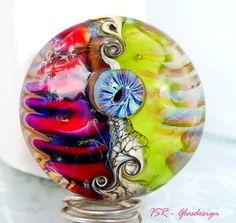 Lemon y fresa  Glasmedaillon  lampwork bead  ISR  von ISRGlasdesign, $36,00