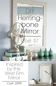DIY Herringbone Mirror... I have a mirror I can do this with!! Yahoo!!