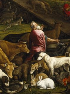 Jacopo bassono animals entering Noah's ark bunnies detail Prado Museum