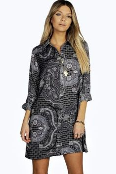 Dora Paisley Pleat Back Shirt Dress at boohoo.com