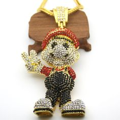 "14k Gold Iced Out Mario Genuine CZ With 36"" Franco Chain"