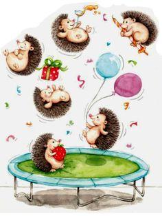 Folk Art Flowers, Flower Art, Scrapbooking, Diy Scrapbook, Happy Birthday 1, Hedgehog Illustration, Hedgehog Birthday, Hedgehog Art, One Stroke Painting