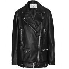 Acne Studios More Oversized Leather Jacket ($1,930) ❤ liked on Polyvore featuring outerwear, jackets, black, 100 leather jacket, real leather jacket, oversized jacket, genuine leather jacket and acne studios