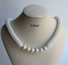 White Pearl/Seed Bead Necklace, Bridal Necklace, Tubular Netting, Elegant Women's Jewelry, Beaded Jewelry, Pearl Jewelry, Unique Gift, OOAK