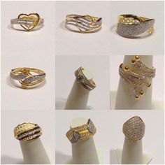 Dubai Ladies Rings Diamond Solitaire Earrings, Diamond Jewelry, Gold Jewelry, Gold Ring Designs, Jewelry Patterns, Indian Jewelry, Fashion Rings, Gold Rings, Jewelry Design