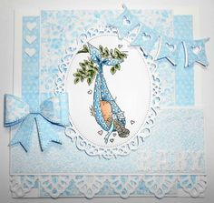 Cute baby boy card that would be a great way to personalize your gift and show your loved ones that you care!  #cardmaking Papers used in creating this card are from Cottage Charm Collection by Nitwit Collections™