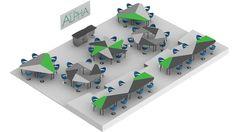 Sistema de mesas flexibles/configurables. Alpha Desk - TOP-TEC Collaborative Workspace - Flexible Desk for Collaboration with a Light Steel Frame