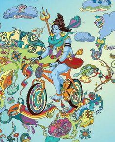 Shiva riding his bike