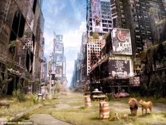 Apocalypse now; Check this Russian Artist's work  i must admit, sure this is a picture of our destroyed civilization, but at least the world grew back and the animals are free, if this is what actually happens in the future, then i want this to happen.