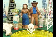 """This artist creates fracking scenes with vintage figurines and postcards 