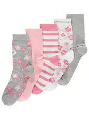 Floral Print Ankle Socks 5 Pack