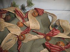 Rustic garland~rusty bell~tree garland~ burlap garland ~ red & tea dye ticking