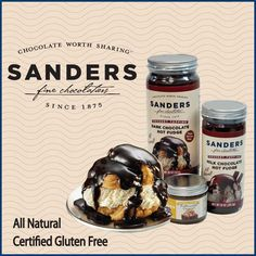 Sanders Candy Made in Michigan. The company was purchased in 2002 by the Morley Candy Company, another Michigan-based confectionery firm. They had the best Hot Fudge Sauce. I remember visiting the Saunders store when my girls were young and ordering their Hot Fudge Cream Puff......so good!
