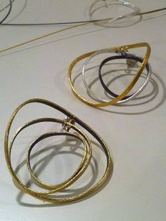 Beautiful silver and gold plated earrings! Gold Plated Earrings, Bangles, Bracelets, Plating, Hoop Earrings, Silver, Beautiful, Jewelry, Nymphs