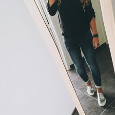 O O T D  #sparkle #loafers #denim #black #outfit #fashion #mirror #girl #morning #work #igers #instagood