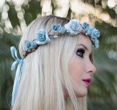 Coroinha de Flores Azul Céu Cintilante - G.Offer