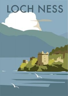 Vintage Poster Giclee Print: Loch Ness - Dave Thompson Contemporary Travel Print by Dave Thompson : Old Poster, Retro Poster, Poster Vintage, Art Deco Posters, Poster Prints, Art Prints, Pin Ups Vintage, Vintage Ski, Illustrations Vintage