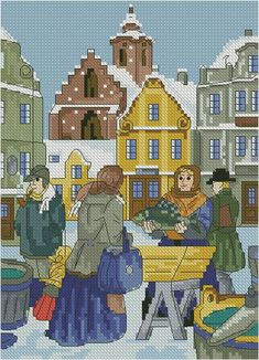 Gráfico de punto de cruz para descargar en PDF, imprimir y bordar escena de gente en un mercado en invierno Kit, Cross Stitch Patterns, Folk Art, Painting, Stitches, Scenery Paintings, Free Pattern, Boots, Patterns