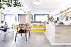 Superette (coffee) Cape Town - South Africa - Colorful Accents, natural wood, & Plants #yellowaccents #naturalwood
