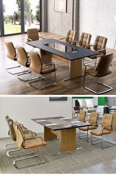 Luxury office furniture decoration black tempered glass top leather cover…