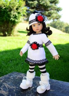"""SOLD """"Laced Up""""Winter Sweater Dress,Outfit,Clothes for 13""""Effner Little Darling -Lumi"""