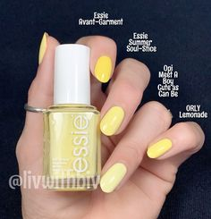 My absolute fave is 'Summer Soul-Stice' from Sweden (sorry it is not available in the… Essie Nail Polish Colors, Yellow Nail Polish, Cute Nail Polish, Yellow Nails, Cute Nails, Pretty Nails, Nail Colors, Nail Polish Collection, Perfect Nails
