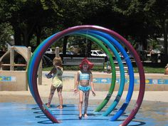 John D. Morgan Park is a big park.  It has two play areas on opposite ends of the park.  The water feature is located at the West Rincon Avenue play area.