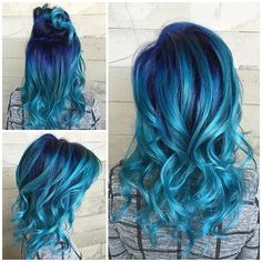 Ocean View... By @alexisbutterflyloft using Pulp Riot colors Mercury, Nightfall, Absinthe, and Powder.