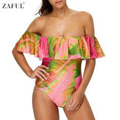 ZAFUL 2017 Sexy Off The Shoulder Leaf Print Women One Piece Swimwear Monokini Swimsuit Bathing Suit Female Summer Beach Wear