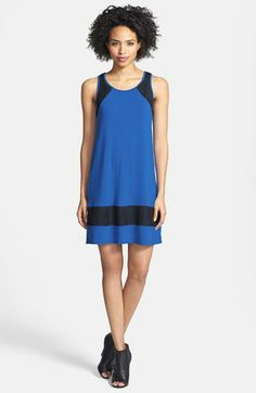 kensie Mesh Trim Jersey Shift Dress available at #Nordstrom