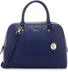 Furla Elena Medium Leather Satchel Bag, Navy