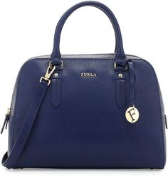 Furla Elena Medium Leather Satchel Bag, Navy