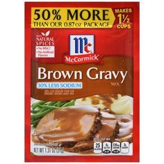 McCormick's Low-Sodium Brown Gravy Mix Packets, 1.31-oz. Pack