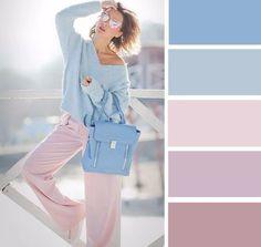 Pastels fashion color combinations, color combinations for clothes, col Colour Combinations Fashion, Color Combinations For Clothes, Fashion Colours, Colorful Fashion, Color Combos, Colour Pallete, Purple Palette, Pastel Palette, Color Balance