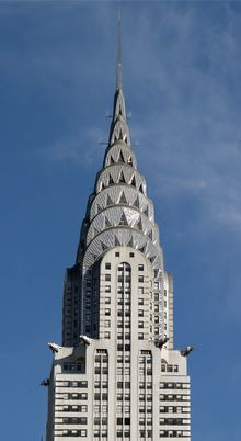 Art Deco spire of the Chrysler Building in New York City; designed by William Van Alen; built 1928–1930.