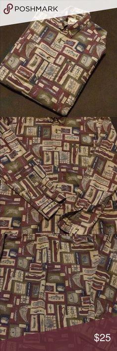 Woolrich Fishing Button Up Men's long sleeved theme shirt.  Size medium. Woolrich Shirts Casual Button Down Shirts