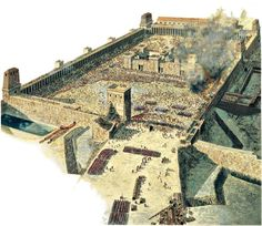 Reconstruction of the Roman siege and sacking of the Second Temple (Herod's Temple) by Titus in Jerusalem, 70 AD.   (the reconstruction by Peter Connolly).  The destruction of both the first and second temples is still mourned annually as the Jewish fast Tisha B'Av. The Arch of Titus, celebrating the Roman sack of Jerusalem and the Temple, still stands in Rome.