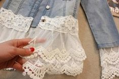 With these five ways to add lace to a denim jacket, create a soft, romantic look in place of harsh denim. From Rain Blanken, your DIY Fashion expert. jacket Outfits Five Ways to Add Lace to a Denim Jacket Sewing Projects For Beginners, Sewing Tutorials, Sewing Hacks, Sewing Patterns, Sewing Tips, Sewing Ideas, Embroidery Patterns, Crochet Patterns, Shirt Makeover